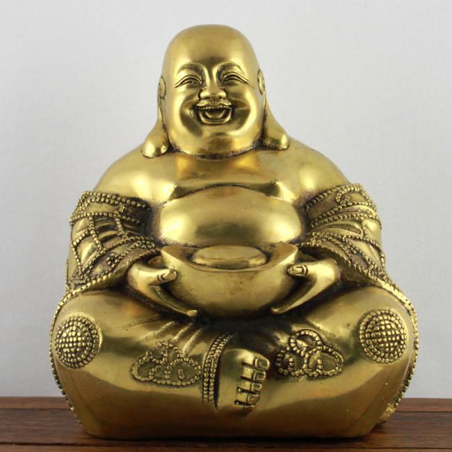gl cksbuddha messing lachender buddha goldfarben. Black Bedroom Furniture Sets. Home Design Ideas