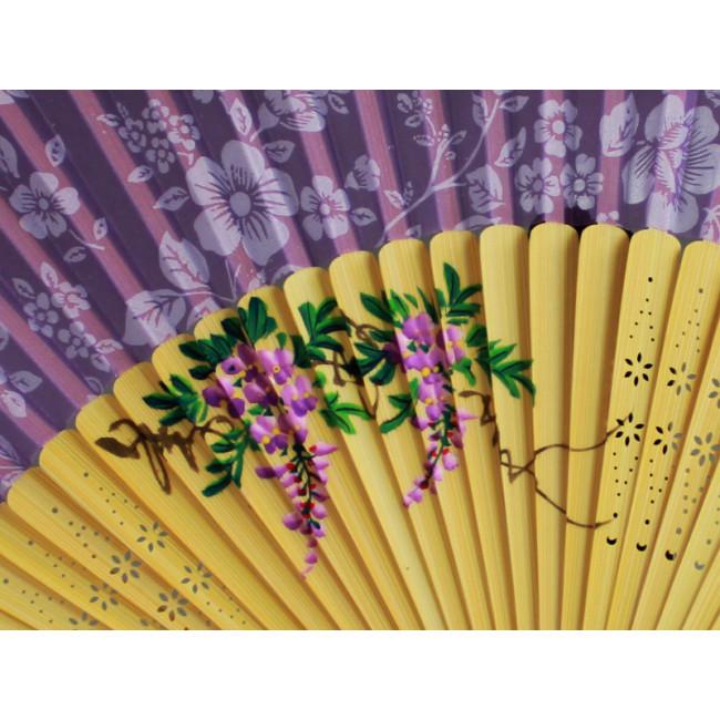 """chinesischer Handfächer Taschenfächer Holzfächer /""""Blühender Blauregen/"""""""