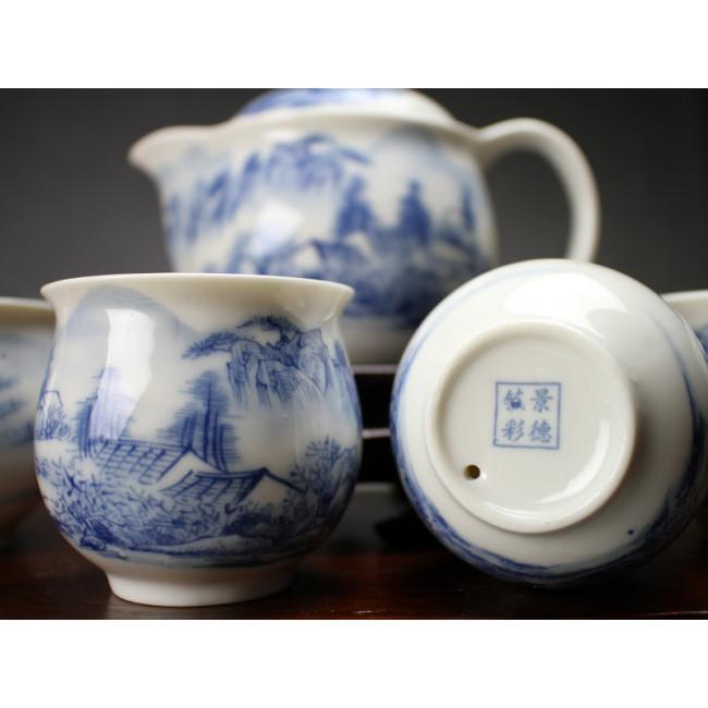 chinesisches teeservice aus porzellan am fu e des huang shan gebirges. Black Bedroom Furniture Sets. Home Design Ideas