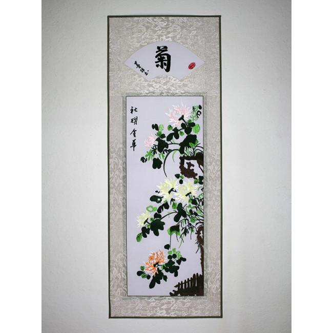 stickbild chinesische blumen chrysantheme chinesisches. Black Bedroom Furniture Sets. Home Design Ideas