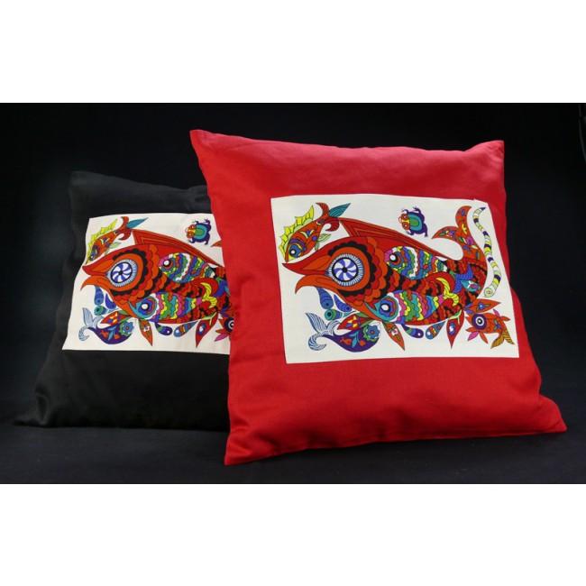 deko kissenbezug 40 x 40 rot fische. Black Bedroom Furniture Sets. Home Design Ideas