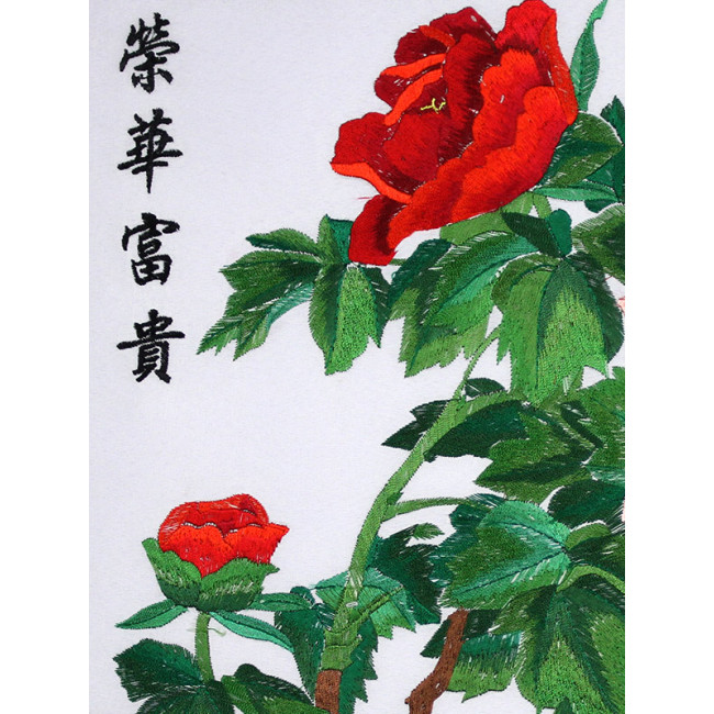 stickbild chinesische blumen rosa pfingstrose