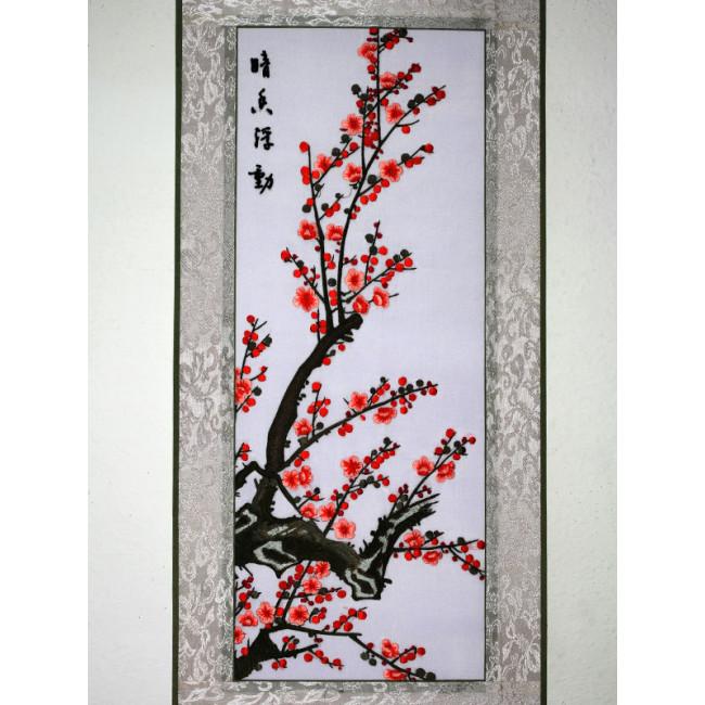 stickbild chinesische blumen pflaumenbl te chinesisches. Black Bedroom Furniture Sets. Home Design Ideas