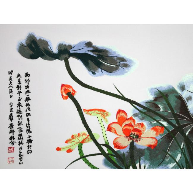 stickbild chinesische blumen roter lotos chinesisches. Black Bedroom Furniture Sets. Home Design Ideas