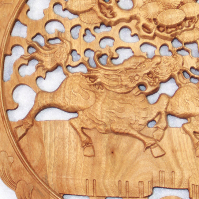 Wandornament Wandbild Holz Qilin Feng Shui Fabeltier Kirin chinesisches Holzbild