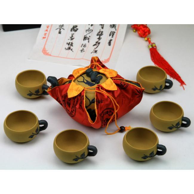 """Chinesisches Teeservice aus Yixing-Ton /""""Mystisches Blattwerk/"""" Keramik China"""