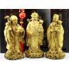 Fu Lu und Shou Bronzefiguren Set Sanxing goldfarben