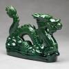 Chinesischer Glücks-Drache Keramik-Figur grün