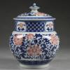 """Chinesische Vase """"Rote Blüten"""" Deckelvase"""