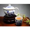 """Chinesisches Teeservice """"Vogel im Blütenmeer"""", Porzellan blau-weiß"""