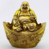 Glücksbuddha auf Barren, goldfarbene Messing-Figur