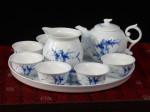"""Chinesisches Teeservice """"Bambus"""", Porzellan-Service handbemalt, asiatische Teekultur"""