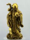 Glücksgott Shou Xing, goldfarbene Messingfigur