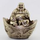 Glücksbuddha auf Barren, silberfarbene Messing-Figur