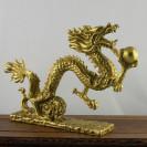 """Chinesischer Drache """"Wolkendrache mit Drachenperle"""" Messing-Figur"""