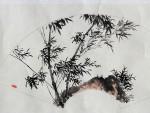 """Chinesisches Fächerbild """"Bambus"""", Tuschemalerei"""