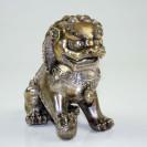 Wächterlöwe Yang / Fu-Hund, silberfarben mit Patina