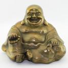 Glücksbuddha Budai (Hotei) sitzend, patinierte Messing-Figur
