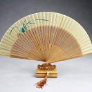 """Handfächer """"Weiße Orchidee"""", asiatischer Holzfächer mit Ständer"""