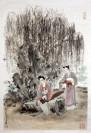 """Wang Xuan """"Hofdame im Schatten der Weidenbäume"""", chinesische Malerei"""
