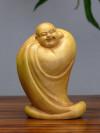 """Chinesische Holzfigur """"Lachender Buddha im Gewand"""""""