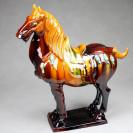 "Tang-Pferd ""Kraft"", linksgewandt - Pferdeskulptur aus Keramik braun"