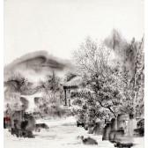 """Tuschemalerei von An Ping Ping """"Kleines Haus in den Bergen"""""""