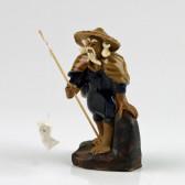 """Chinesische Figur """"Angler mit Baumstamm"""", Keramikfigur"""