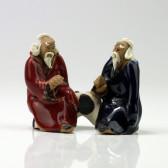 """Bonsai-Figur """"Zwei Gelehrte"""", chinesische Tonfiguren (M)"""