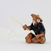 """Bonsai-Figur """"Angler"""", Keramikfigur Jiang Ziya"""
