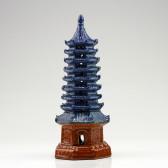 Chinesische Keramik-Pagode Pflanzendekoration , Bonsai-Deko (XL)