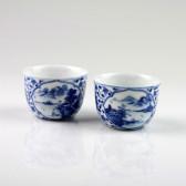"Chinesische Porzellan-Teetassen ""Idyllische Berglandschaft"", (Sammlertassen Paar No.1)"
