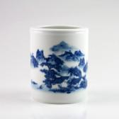 """Stiftehalter Porzellan """"Dorf am See"""", chinesische Tisch-Vase blau-weiß"""