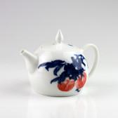 "Chinesische Teekanne ""Rote Pflaume"", Porzellan-Teekanne"