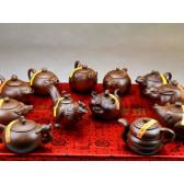 """Yixing Teekannen Set """"Chinesische Tierkreiszeichen"""""""