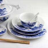 """Chinesisches Ess-Geschirr Set """"Wasserstadt"""", Porzellan blau-weiß"""