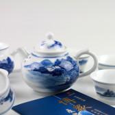 """Chinesisches Teeservice """"Fischerdorf"""", Porzellanservice, handbemalt"""