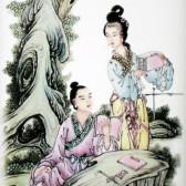 """Chinesisches Porzellanbild """"Kalligraphie"""", Fliesen-Wandbild Vier Künste"""