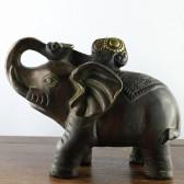 Glücks-Elefant Messing-Figur dunkel