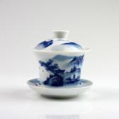 """Gaiwan """"Mönchstempel"""", chinesische Teetasse, Deckeltasse blau-weiß"""