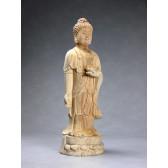 """Holzskulptur """"Reiner Bodhisattva der Ruhe"""", Amithaba Buddha (natur)"""