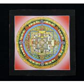 Thangka, Kalachakra Mandala, rot mit schwarzer Umrandung