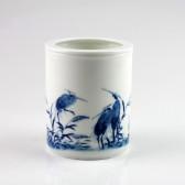 """Porzellan-Vase """"Reiher im Schilf"""", Stifte und Kalligraphie-Pinselhalter"""