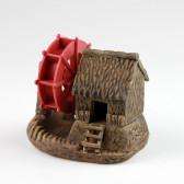 """Keramik-Figur """"Bambushütte mit Wasserrad"""", Garten-Bonsai-Deko (XL)"""