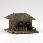 """Keramikfigur """"Chinesisches Bauernhaus"""", Gartenbonsai-Deko (L)"""