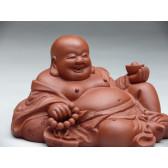 """Tonfigur """"Liegender Feng Shui Buddha"""" (rotbraun)"""