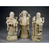 """Fu Lu und Shou Porzellanfiguren Set """"Die drei Glücksgötter"""", Sanxing"""