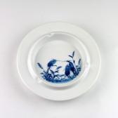 """Aschenbecher """"Reiher im Schilf"""", Porzellan blau-weiß, Kalligraphie Farbmischschale"""