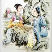 """Chinesisches Bild """"Weiqi-Spiel"""", Porzellan-Bild Vier Künste"""