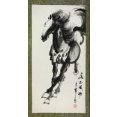 """Rollbild, chinesische Tuschezeichnung """"Galoppierendes Pferd"""", Xu Beihong"""